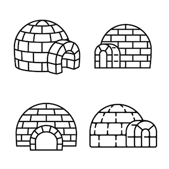 Igloo icon set, outline style