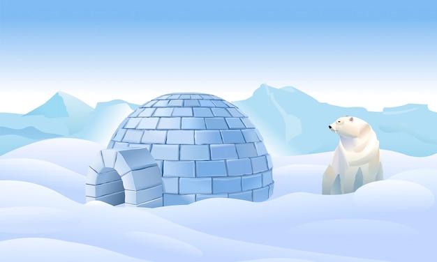 北のイグルー。北の住宅。クマはイグルーを持っています。北部の風景。氷の中の北の生活。シロクマはイグルーを持っています