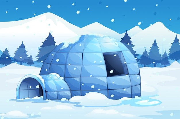 Igloo in the north pole