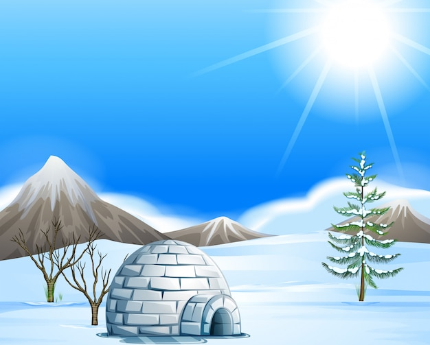 Igloo in the north pole