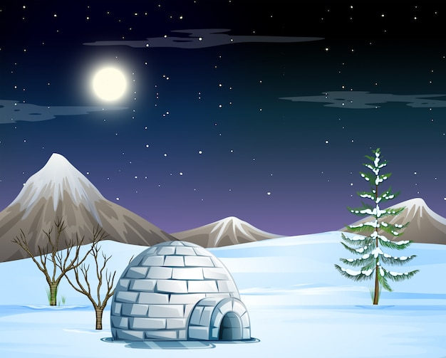 Igloo in snow scene