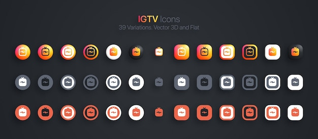 Igtv icons set modern 3d and flat in different variations