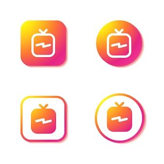 Igtv 아이콘. instagram 표시의 집합입니다.