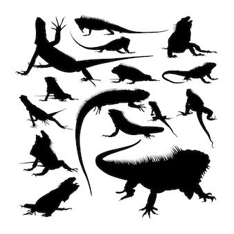 イグアナの動物のシルエット