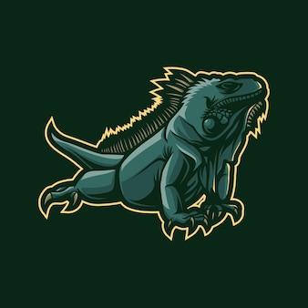 イグアナのマスコットのロゴデザイン