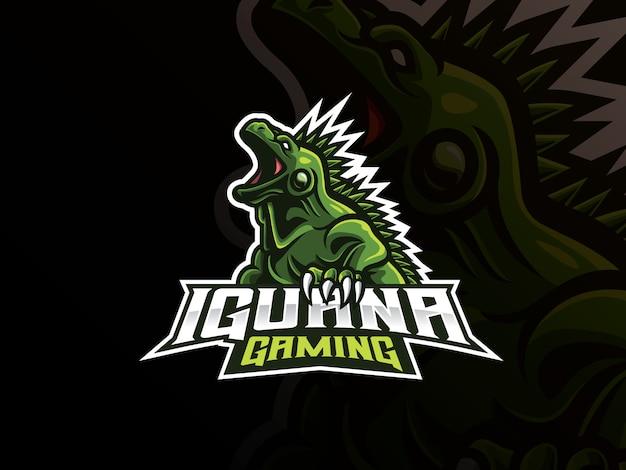 Iguana mascot sport logo design