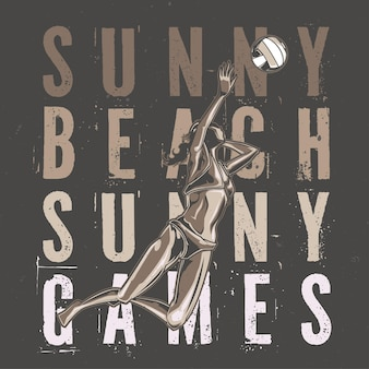 ビーチでバレーボールをしているイラストの女の子