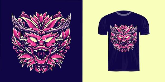Иллюстрированный дракон с гравировкой орнамента для дизайна футболки