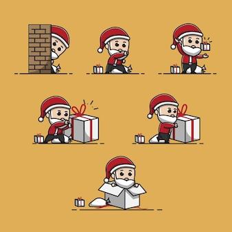 Iilustration 귀여운 산타 클로스 선물을 가지고 노는 일러스트 박싱 데이