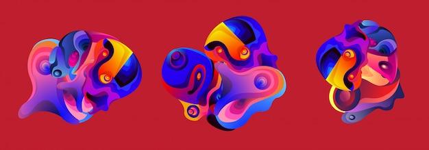 Набор абстрактных жидких форм жидкости iilustration