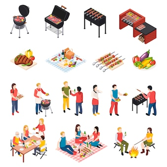 Iisometic bbq grill picnic icon set with peoples dining table picnic and grill equipment