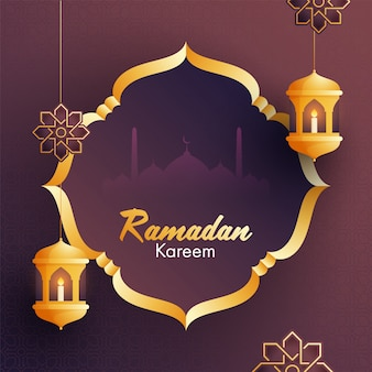 Iit candles inside arabic golden lanterns, bunting flags, golden frame and mosque silhouette  for islamic holy month of ramadan kareem occasion.
