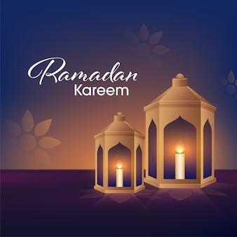 라마단 카림 행사의 이슬람 거룩한 달 블루 꽃 무늬 배경에 황금 랜 턴 안에 초 Iit 촛불. 프리미엄 벡터