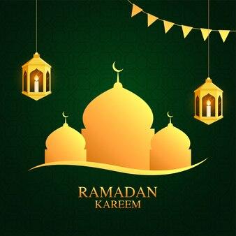 ラマダンカリームのイスラムの聖なる月のアラビア語の黄金のランタンと緑の背景に金色のモスクの墓の中にiitキャンドル。