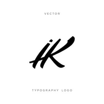 Ik буквы вензеля. типографский логотип. вектор.