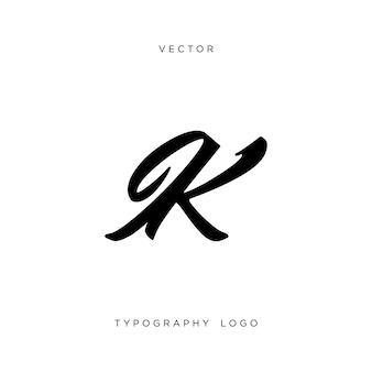 Ik文字モノグラム。タイポグラフィのロゴタイプ。ベクター。