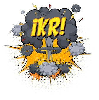 Ikr text on comic cloud explosion isolated on white background