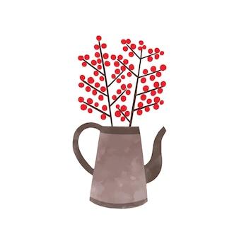 やかんの手描きのベクトル図のモチノキの枝。白い背景で隔離の鍋に赤いベリーと小枝。装飾的なクリスマスの植物、屋内装飾の水彩画。常緑低木。
