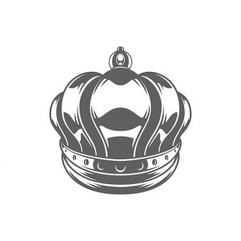 Ilhouette королевской короны короля изолированное на белой предпосылке.