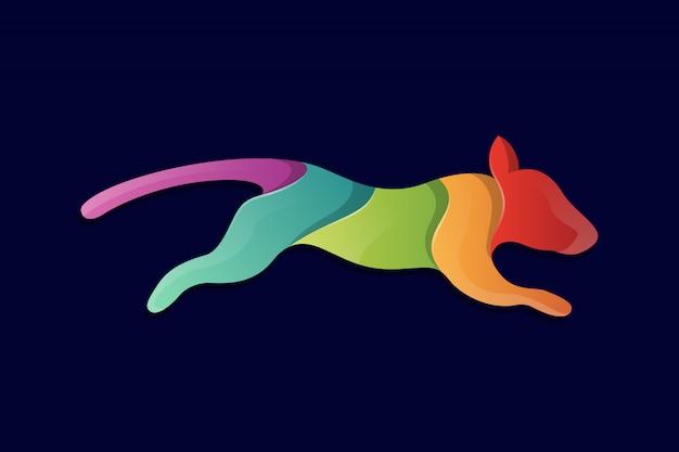 カラフルな犬の敏ility性トレーニングのロゴ。カラフルなペット、動物、クリエイティブ、かわいい犬のシルエットジャンプ