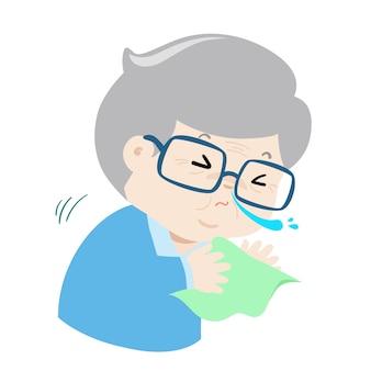 Ill grandfather sneezing because flu disease