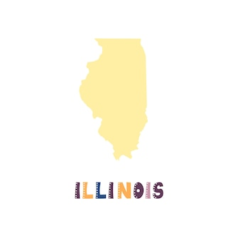 Illinois map isolated. usa collection. map of illinois - yellow silhouette. doodling style lettering on white