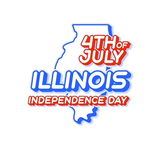 Illinois state 4th of july independence day with map and usa national color 3d shape of us