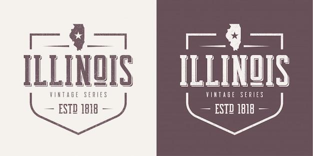 Текстурированная винтажная футболка и дизайн одежды штата иллинойс