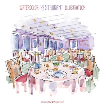 水彩レストランillistration