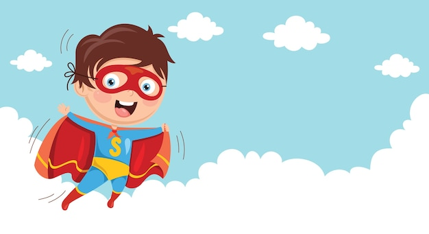 Illlustration of superhero kid