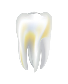 Illnessed human tooth. dental medical vector icon. need dental care for stained teeth or tooth caries. oral teeth restoration