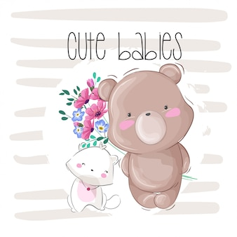 Милый ребенок медведь животных illstration для детей