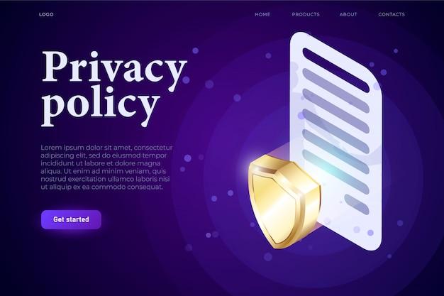 プライバシーポリシーillsutrationコンセプト、3 d契約の記号と3 dシールド、保護の概念。等尺性3 dウェブサイトアプリ。ランディングwebページテンプレート
