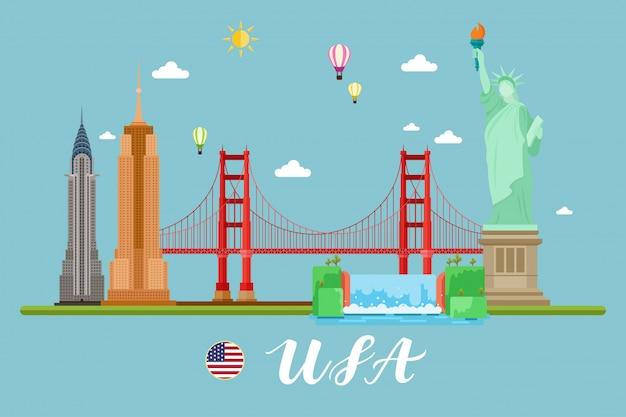 アメリカ旅行風景ベクトルilluastration