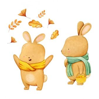 Иллюстрирование персонажа-зайца в зеленом шарфе с корзиной, полной яблок, и счастливого мальчика-зайца в желтом шарфе, играющего с падающими осенними листьями. ручной обращается акварель