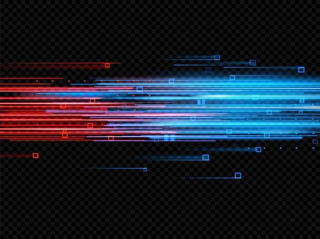 Освещенные абстрактные цифровые неоновые линии светящихся частиц лазерный световой эффект футуристический вектор