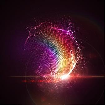 照らされた抽象的なデジタルレインボーネオンスプラッシュの輝く粒子とフレアレンズの光の効果。未来的な