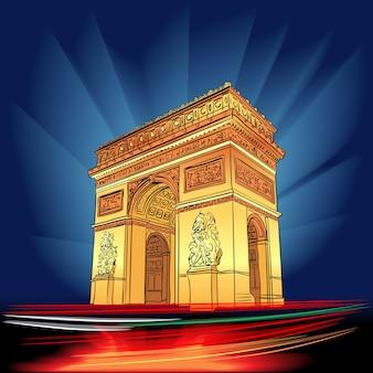 Освещенная триумфальная арка париж ночью франция