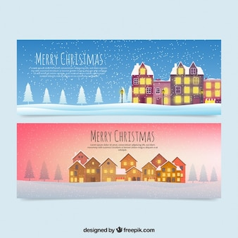Illuminated beautiful houses banners in snowy landscape