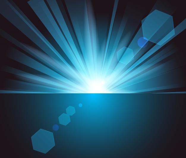 Illuminated blue light in darkness
