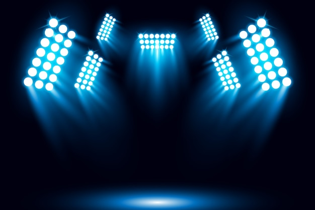 Illuminated blue spotlight scene background