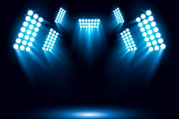 Illuminated blue spotlight scene background