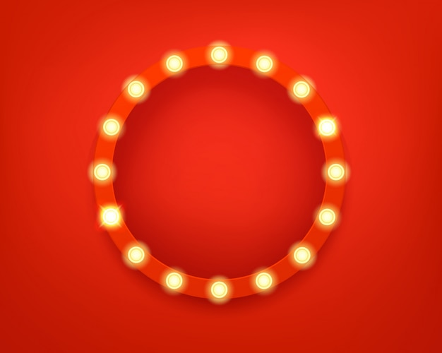 Illuminated circle frame. bright retro frame