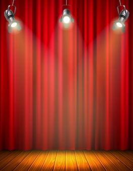 Illuminated empty stage with red curtain of glowing material wooden floor hanging floodlight vector illustration