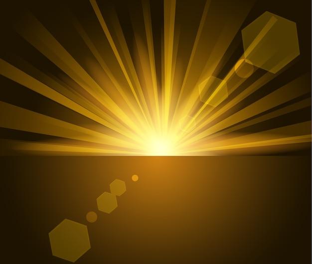 Illuminated gold light in darkness