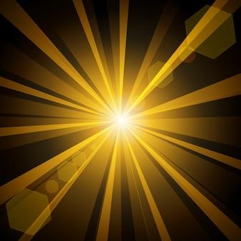 暗闇の中で照らされた金色の光