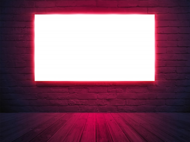 Illuminated light box screen poster banner with on brick wall