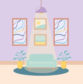 Освещенная гостиная