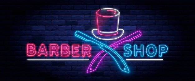 Illuminated neon barber shop .