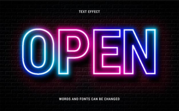 Illuminated neon glowing text effect isolated on brick background editable eps cc
